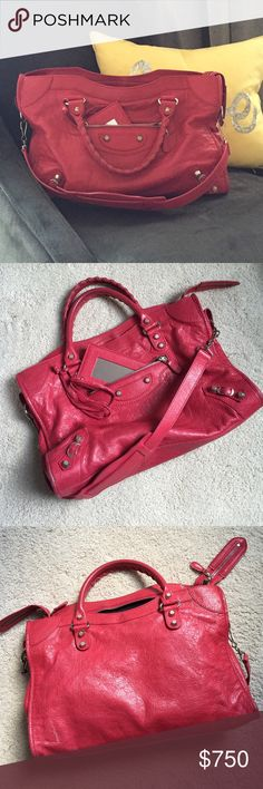 Balenciaga City {RE-LISTED!} Red Balenciaga City bag. Silver hardware. Black lining. Normal wear and tear. Has marks and scuffs, and the corners and handles show wear. Includes dust bag. Sold this bag in early December 2016 but it got held up for weeks in the mail on its way to Poshmark HQ so the sale was canceled. She's back home and up for sale again now though! Classic bag with lots of life left. Priced to sell. Ask any questions. **Please see my separate listing with additional pics…