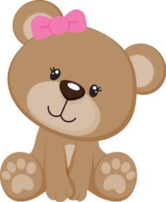 Sitting Teddy Bear w/Bow in Ear Quilt Baby, Diy And Crafts, Paper Crafts, Baby Shawer, Bear Party, Cute Clipart, Baby Cards, Baby Animals, Hello Kitty