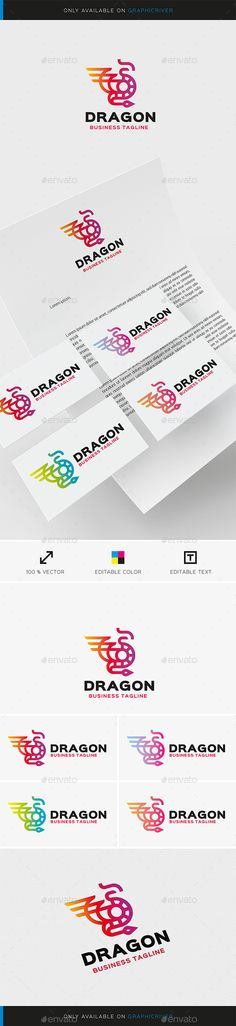 Buy Dragon Logo Template by augustos on GraphicRiver. This creative logo is suitable for many areas of business. Logo Dragon, Brand Identity, Branding, Web Design, Logo Design, Animal Logo, Creative Logo, Logo Ideas, Logo Templates