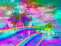 LARRY CARLSON Rainbow Unicorn Island 11 x 14in image size16 x 20in with the matting around the artwork. This print was created using archival pigment inks on glossy metallic paper. Metallic prints have an impressive depth of color and dimension.-Print is matted in a bright white mat and ready-to-frame.-Print is signed by Larry Carlson on the front on the white border around the print.-Artworks are certified archival.