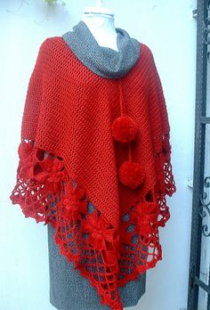 Red Crochet Poncho posted at Flickr by crochetbutterfly