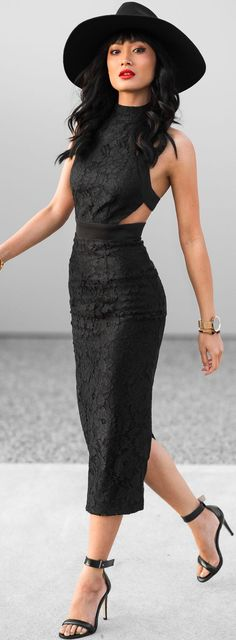 Black Lace Cutout Midi Dress Fall Inspo by Micah Gianneli Trendy Dresses, Fall Dresses, Sexy Dresses, Casual Dresses, Fall Fashion Trends, Autumn Fashion, Lace Dress, Dress Up, Looks Black