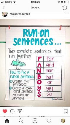 Writing Mini Lesson Run-On Sentences - Rockin Resources Teaching Grammar, Teaching Writing, Writing Activities, Writing Skills, Grammar Games, Grammar Practice, Grammar Lessons, Writing Process, Writing Ideas