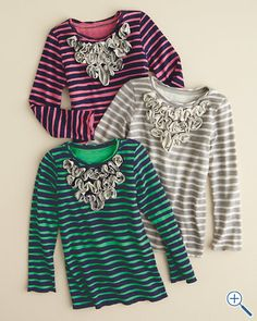 Morgan & Milo Ruffle-Front Top - inspiration for ideas with adding ruffles to plain tees