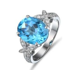 Cheap gemstone jewelry, Buy Quality gold natural directly from China diamond jewelry Suppliers: CaiMao White Gold ct Natural Blue Topaz & ct Round Cut Diamond Engagement Gemstone Wedding Ring Jewelry Blue Topaz Diamond, Owl Necklace, Girls Necklaces, Diamond Settings, Antique Rings, Round Cut Diamond, Sterling Silver Necklaces, Fine Jewelry, Gemstone Rings