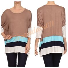 Dolman Sleeved Colorblock Tunic Top Long sleeved. Scoop neck. Taupe, sky blue, black, and beige. Loose fit. 95% Rayon, 5% Spandex. Size Recommendations: S (2-4) M (6-8) L (10-12) XL (14-16) 2X (18-20) 3X (22-24) Made in the USA CC Boutique  Tops Tunics