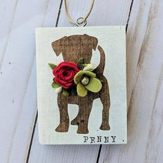 Items similar to Custom dog ornament on Etsy Felt Crafts, Wood Crafts, Paper Crafts, Christmas Signs, Felt Christmas, Felt Flowers, Paper Flowers, Dog Ornaments, Primitive Ornaments