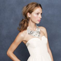 Crystal embroidered bib necklace