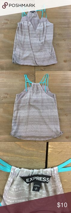 🐿 Express Surplice Tank Top Grey and white silky surplice tank top. Bright blue straps. Express Tops Tank Tops