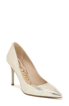 Women's Sam Edelman Hazel Pointy Toe Pump, Size 11 M - Metallic How To Stretch Shoes, How To Make Shoes, Pointed Toe Pumps, Stiletto Heels, Old Shoes, Metallic Leather, Women's Pumps, Me Too Shoes, Store Shoes