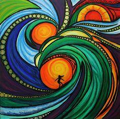 Surf art on canvas by Maia Walczak  Glide  hand by MaiaWalczakArt, £350.00