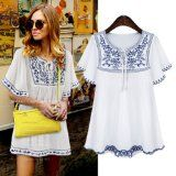 Keep Looking Busy - Women 2014 Summer New Fashion Neck Lace Bat Sleeve Embroidery Flowers Dress