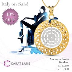 Amoretta Routa Pendant - A textured layer of perforated yellow gold is wrapped around a stylized wheel in white gold to create a beautiful, eye-catching pendant design. Match it with the Amoretta Routa Drop Earrings - http://www.caratlane.com/jewellery-collections/italian-gold-jewellery/amoretta-routa-pendant-18kt-yellow-gold-ip00009-yg0000.html?utm_source=Pinterest_medium=ODigMa+Pins_campaign=Jewellery_content=IP00009-YG0000