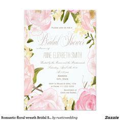 Romantic floral wreath Bridal Shower Invitation II