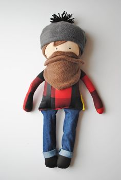 Buffalo Plaid Paul Bunyan...A Man Doll by herbunniesthree on Etsy