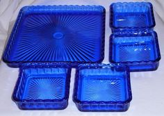 Vintage Cobalt Blue Glass 5 Piece Snack - Relish - Trinket - Dresser Tray Set                                                                                                                                                                                 More