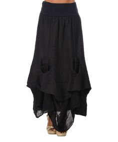 Another great find on #zulily! Navy Blue Linen Handkerchief Maxi Skirt #zulilyfinds