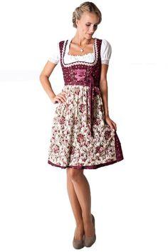 Ludwig und Therese Damen Trachten Dirnd Trachten Dirndl Vivien, beere creme D010068 (Beere, Creme): Amazon.de: Bekleidung