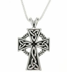 Jewelry Trends Sterling Silver Celtic Cross Trinity Knot Pendant with Circle of Life on Box Chain Necklace >>> Check out this great product.