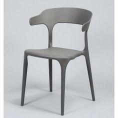 Spisebordsstol i grå plast.