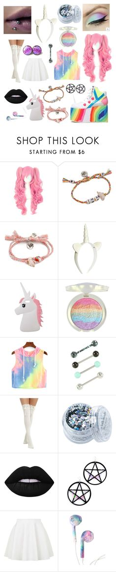 """Unicorns"" by hailstone360 ❤ liked on Polyvore featuring Venessa Arizaga, Y.R.U., H&M, Miss Selfridge, Hot Topic, In Your Dreams, Lime Crime, Marina Fini and Topshop"