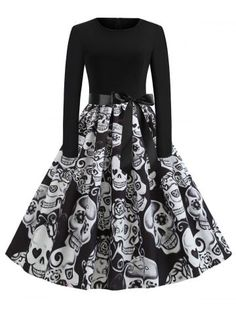 Halloween Dress Fancy Pumpkin Printed Long Sleeve Mid Length Princess Swing Dress Ladies Costume Festival Party Plus Size S-XXL Plus Size Halloween, Halloween Dress, Halloween Outfits, Halloween Skull, Halloween 2019, Women Halloween, Gothic Halloween, Halloween Fashion, Halloween Party