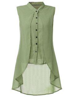 Women Sleeveless V Neck Button Pure Color Irregular Hem Chiffon Vest Long Blouse Online - NewChic Mobile. Long Sleeve Tops, Long Sleeve Shirts, Long Shirts, Long Tops, Women's Tops, Long Blouse, Sleeveless Blouse, Chiffon Blouses, Chiffon Tops