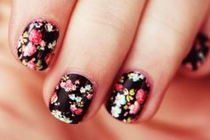 Black and floral nails. Flower nail art.