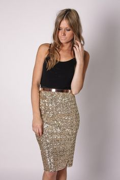 time goes by gold sequin skirt- love this gold skirt! Gold Sequin Skirt, Sparkle Skirt, Gold Sparkle, Gold Sequins, Gold Pencil Skirt, Sequin Outfit, Pencil Skirts, Gold Dress, Gold Glitter