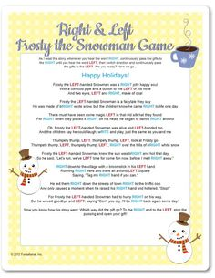 Free Printable Right & Left Part game. Frosty the Snowman. This game is a blast … – The Real Thing with the Coake Family – Christmas Free Christmas Games, Christmas Gift Exchange Games, Christmas Games For Adults, Xmas Games, Printable Christmas Games, Holiday Games, Christmas Trivia, Holiday Crafts, Holiday Fun