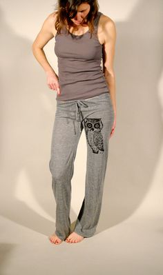 Owl Women's  Eco Grey Screen Printed Pant Owl by branchhandmade