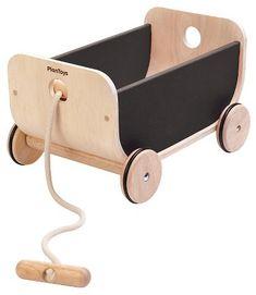 classic looking wood wagon. Plan Toys PlanToys Wagon - Black / modern wagon / toy storage / toy room #wagon #woodtoys #modernkids #moderntoys #kidroom #toys #commissionlink