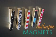 diy clothespin magnets - I'm thinking this would be another great use for Washi tape too. Cute Crafts, Crafts To Do, Diy Crafts, Crafty Craft, Crafting, Clothespin Magnets, Clothespins, Diy Magnets, Locker Magnets
