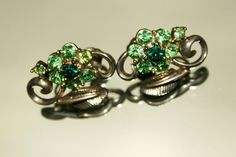 Vintage Silver Coloured & Sparkly Green Diamantes by GillardAndMay