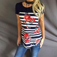562c3b2b0a0f Women Floral Striped Splicing Short Sleeve Crewneck Printed Printing Casual  T-Shirt Tops Basic Top