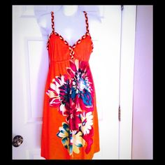 Moa Moa dress size Large. FINAL PRICE! This gorgeous dress will have you well prepared for your next beach vacation  Beautiful bright design with stylish braid straps.  You will get a lot of wear our of this cute dress along with a great pair of flip flops! Moa Moa Dresses Midi