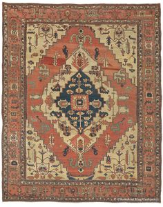 Serapi, 9ft 11in x 12ft 10in, Circa 1875.     A captivating, very spacious arrangement of graphic motifs infuses this tour-de-force 135-year-old antique Persian Serapi carpet with a tremendous presence. Its expansive grand medallion is joined only by equally large-scale secondary motifs, generously arranged so as never to appear crowded or constrained. A rare desert-inspired palette of terracotta and sandstone tones perfectly complements this atmosphere.