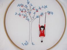 Cherry on the tree swing - Embroidery pattern PDF