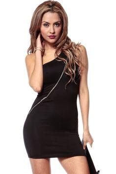 Diagonal Zipper Dress @ Cicihot sexy dresses,sexy dress,prom dress,summer dress,spring dress,prom gowns,teens dresses,sexy party wear,ball dresses