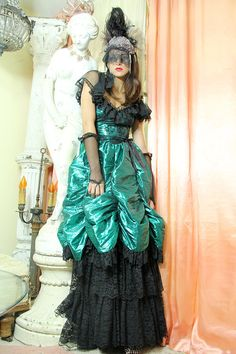 Ruffled LACE Ball Gown SCOLLOPED Victorian by TatiTatiVintage, $142.00