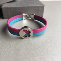 Multi Coloured Leather Bracelet- Pink and Blue Flat Leather Strand Bracelet- Butterfly Bracelet by TAHIKOJewellery on Etsy
