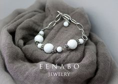 White and Silver Faceted Agate Chain Bracelet by EENABO on Etsy, $69.00