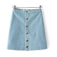131c2a0b8a9 denim high waist strait skirt ( 18) ❤ liked on Polyvore High Waisted Denim  Skirt