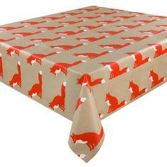 Anorak Proud Fox Coated Cotton Tablecloth Fox Coat, Outdoor Furniture, Outdoor Decor, Ottoman, Oilcloth, Indoor, Brown, Home Decor, Interior