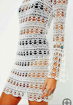 How to Crochet a Little Black Crochet Dress White Flare Sleeve Backless Knitted Crochet Dress. Order today & shop it like it's hot at Missguided. Crochet Skirt Pattern, Crochet Skirts, Crochet Clothes, Crochet Patterns, Crochet Designs, Crochet Beach Dress, Black Crochet Dress, Knit Dress, Dress Beach
