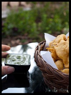 Onion Pakora and Green Chutney Dip #stepbystep #recipe masalaherb.com