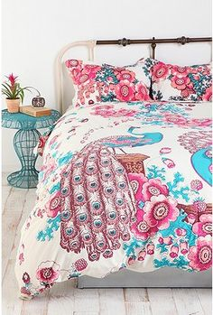 Peacock and Flowers Percale Cotton Duvet Cover inspiration of colors and pattern for girls room