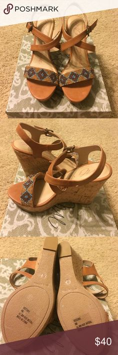 NIB brown and turquoise beaded wedges 8 New in box turquoise and brown beaded wedges from Mt i Design in an 8. Mt i Design  Shoes Wedges