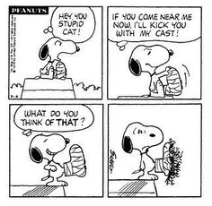 """Cats in Art and Illustration: The never seen """"Stupid Cat Nextdoor,"""" Snoopy's nemesis in Charles Schulz's """"Peanuts."""""""