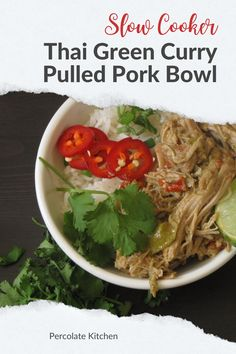 Buddha bowls are popular at the moment so I created this recipe that you make in the slow cooker and combines two other popular recipes - Thai green curry and pulled pork! Find out how to make it yourself here Slow Cooker Desserts, Healthy Slow Cooker, Slow Cooker Soup, Slow Cooker Recipes, Best Chicken Recipes, Pork Recipes, Healthy Recipes, One Pot Dinners, Easy Family Dinners